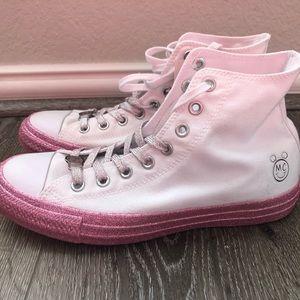 White & Pink Glitter Converse Women's Size 9